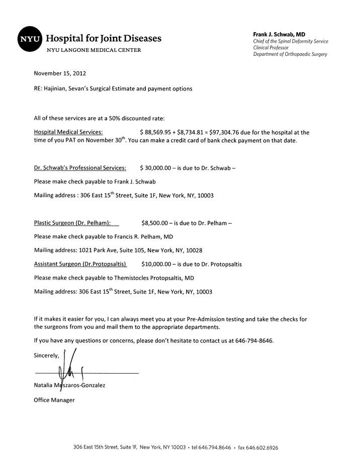NYU Langone Invoice 2012