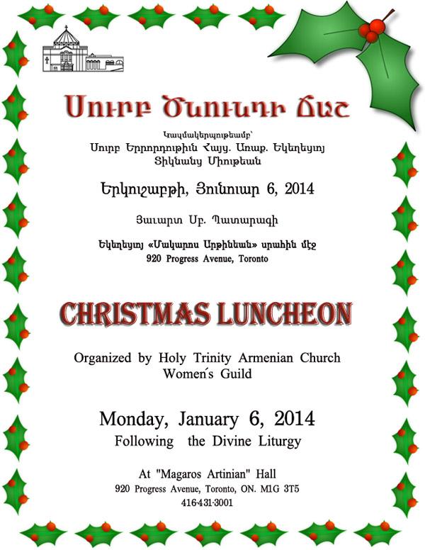 Christmas Luncheon 2014 Jan 18