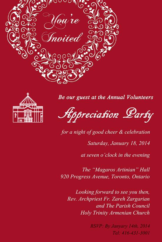Volunteers Appreciation Party Jan 18 2014
